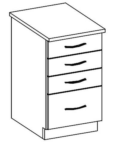 D40S/4 dolní skříňka se zásuvkami GREY