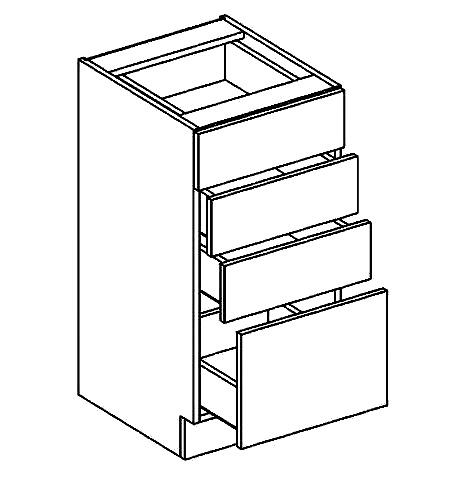 D40S4 dolní skříňka se zásuvkami PREMIUM olše