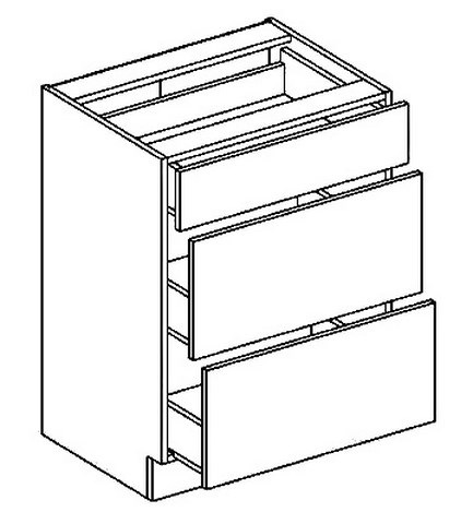 D60S3 dolní skříňka se zásuvkami PREMIUM hruška