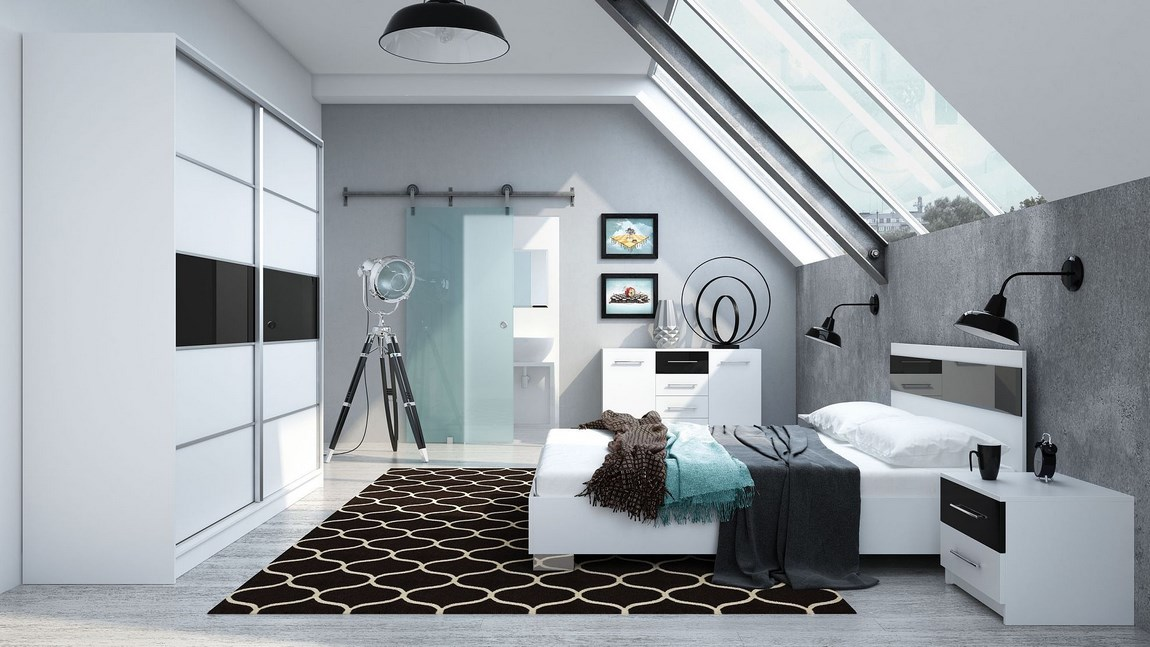 Ložnice DUBAJ C (postel 160, skříň, komoda, 2 noční stolky)