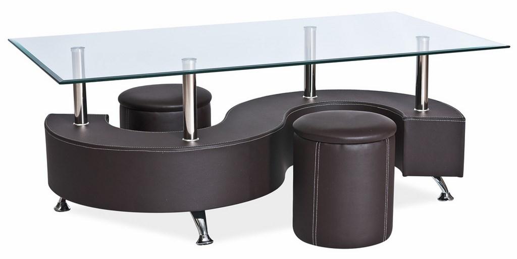 Konferenční stolek HUGO s taburety - hnědý