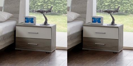 Noční stolek ( 2 ks ) JENNY 698 dub/bílá