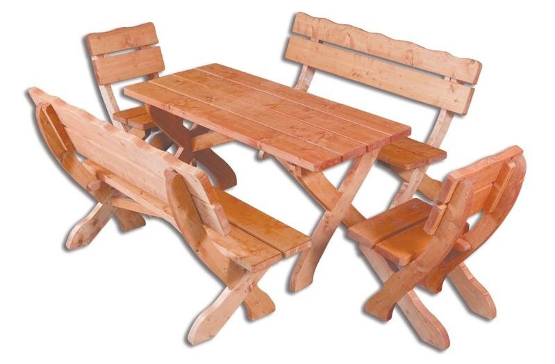 OM-105 zahradní sestava ( 1 x stůl + 2 x lavice + 2 x křeslo )