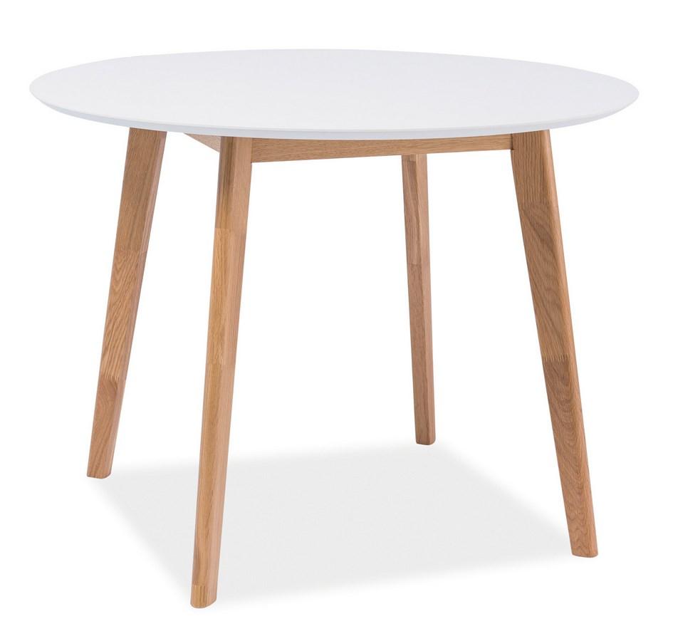 Jídelní stůl kulatý MOSSO II dub-bílá