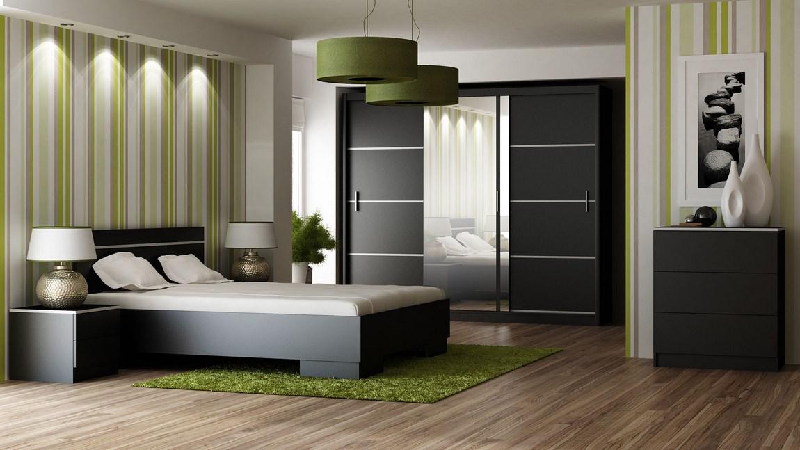 Ložnice VISTA černá (postel 160, skříň, komoda, 2 noční stolky) + parfém zdarma Značkový parfém dle vlastního výběru