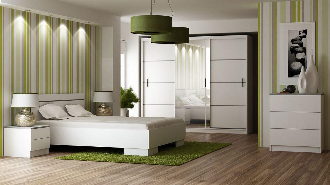 Ložnice VISTA bílá (postel 160, skříň, komoda, 2 noční stolky) + parfém zdarma Značkový parfém dle vlastního výběru