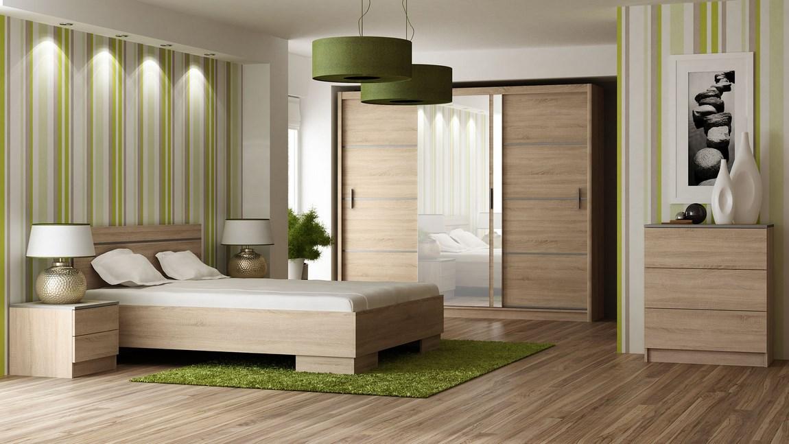 Ložnice VISTA sonoma (postel 160, skříň, komoda, 2 noční stolky) + parfém zdarm Značkový parfém dle vlastního výběru