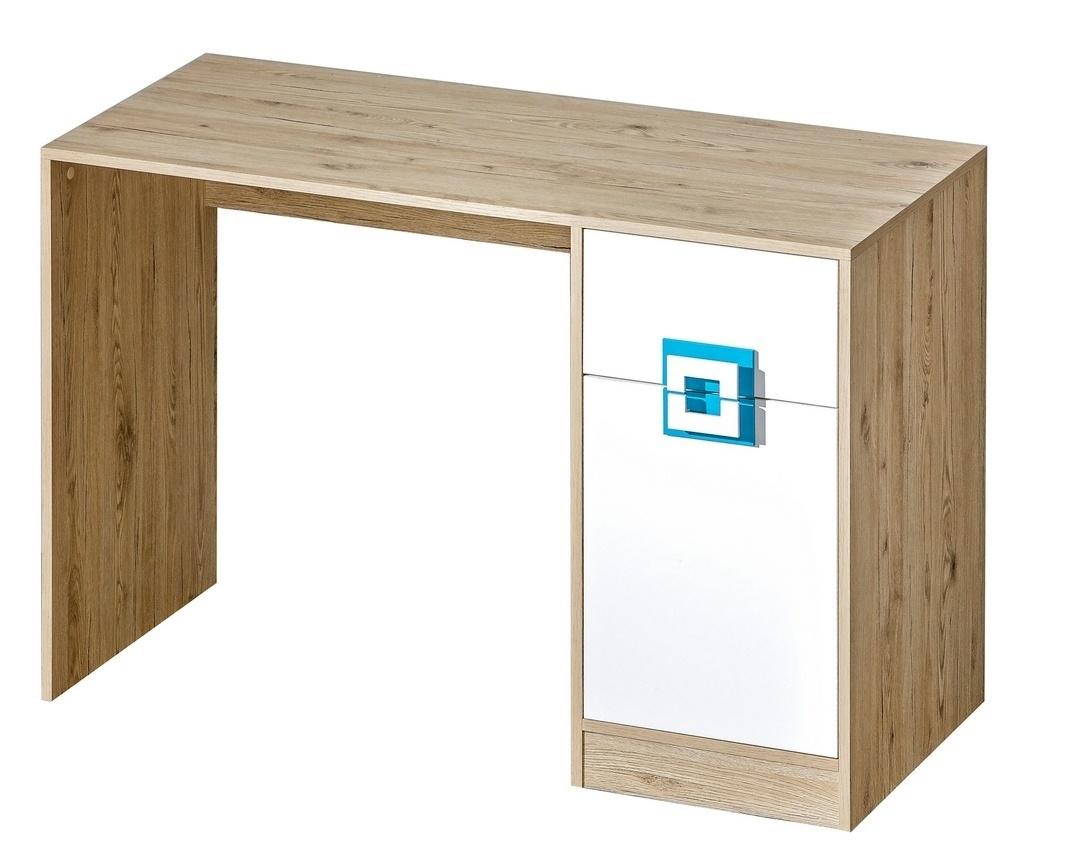 pracovný stôl NIKO 10 dub jasný/biela/tyrkys