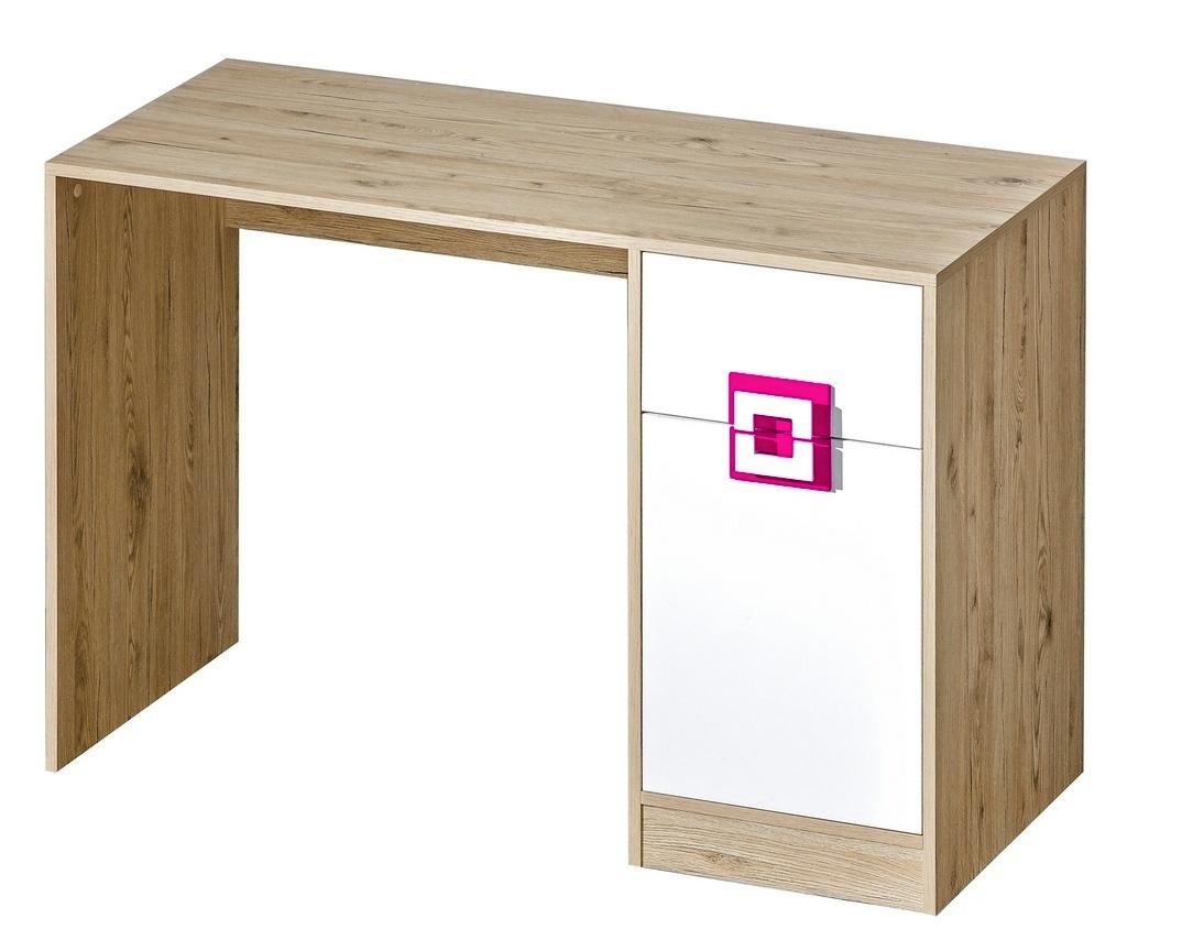 pracovný stôl NIKO 10 dub jasný/biela/ružová