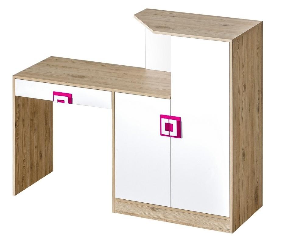 pracovný stôl s komodou NIKO 11 dub jasný/biela/ružová