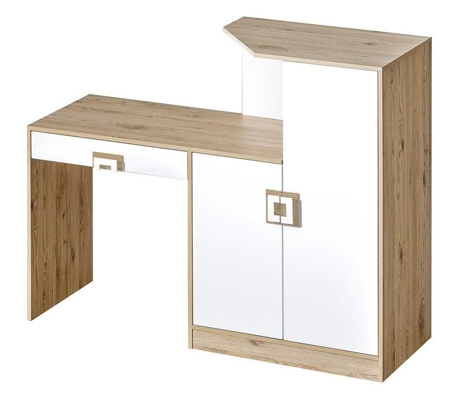 pracovný stôl s komodou NIKO 11 dub jasný/biela