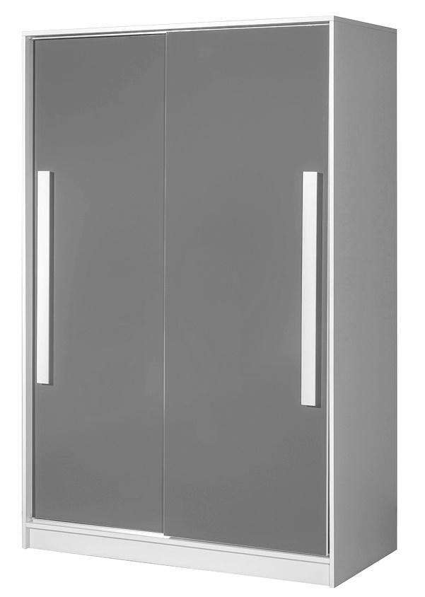 šatníková skriňa s posuv. dveřmi GULLIWER 12 biela/šedá lesk