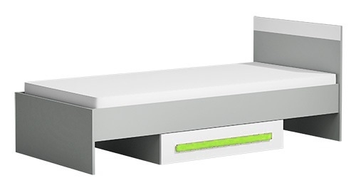 Postel 90x200 cm GYT 12 antracit/biela/zelená