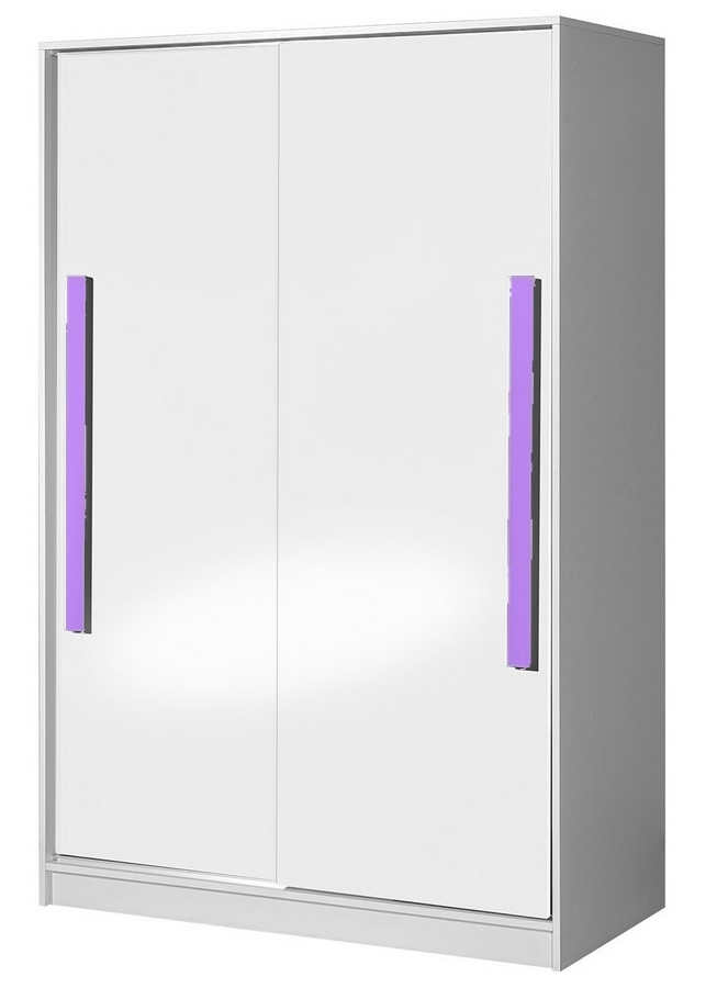 šatníková skriňa s posuv. dveřmi GULLIWER 12 biela lesk/fialová