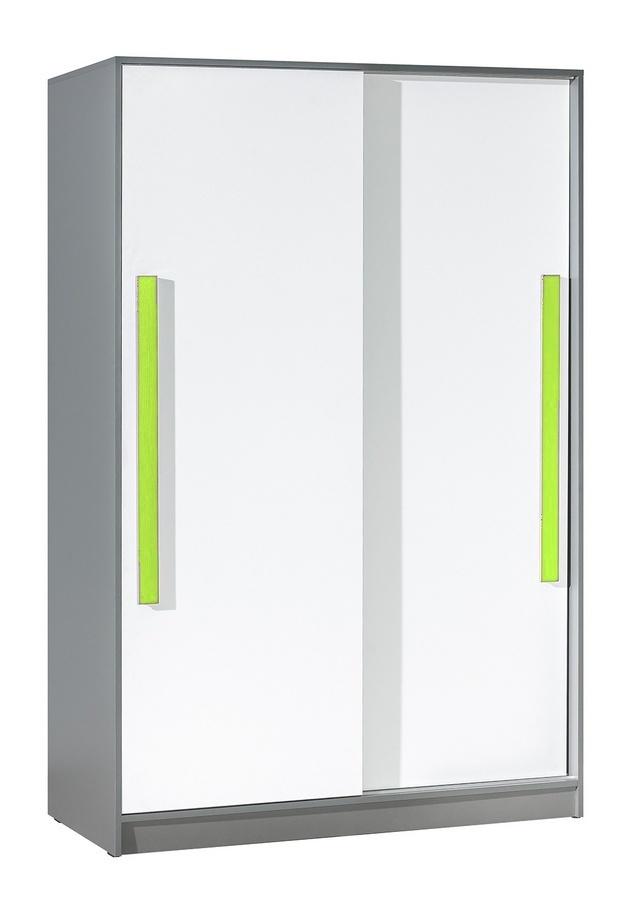 šatníková skriňa s posuv. dveřmi GYT 13 antracit/biela/zelená
