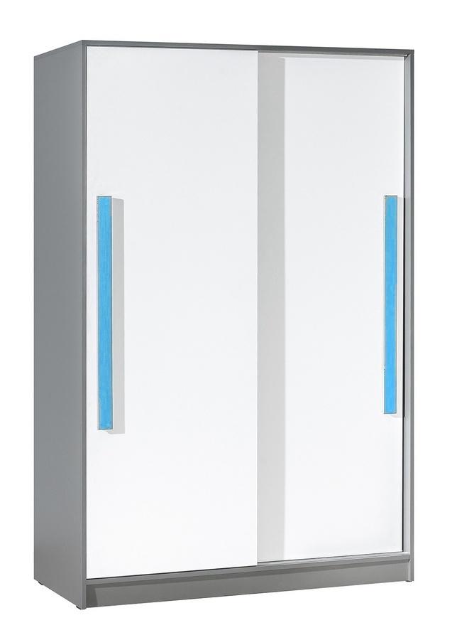 šatníková skriňa s posuv. dveřmi GYT 13 antracit/biela/modrá