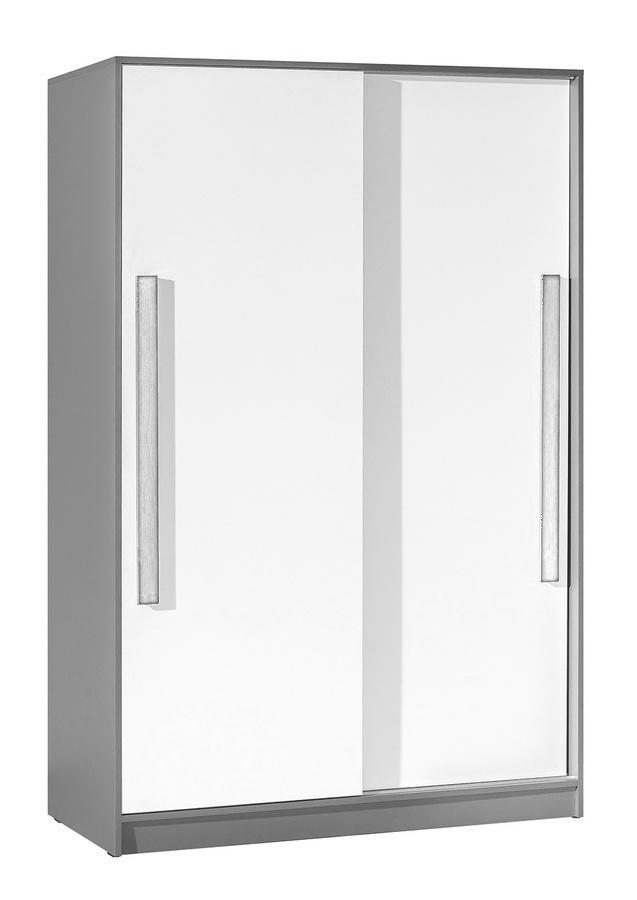 šatníková skriňa s posuv. dveřmi GYT 13 antracit/biela/šedá