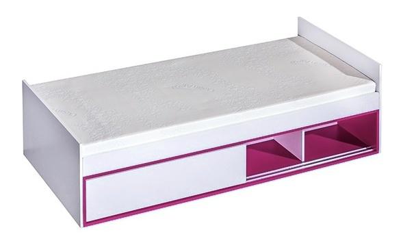 Postel 90x200 TRAFICO 13 biela/ružová