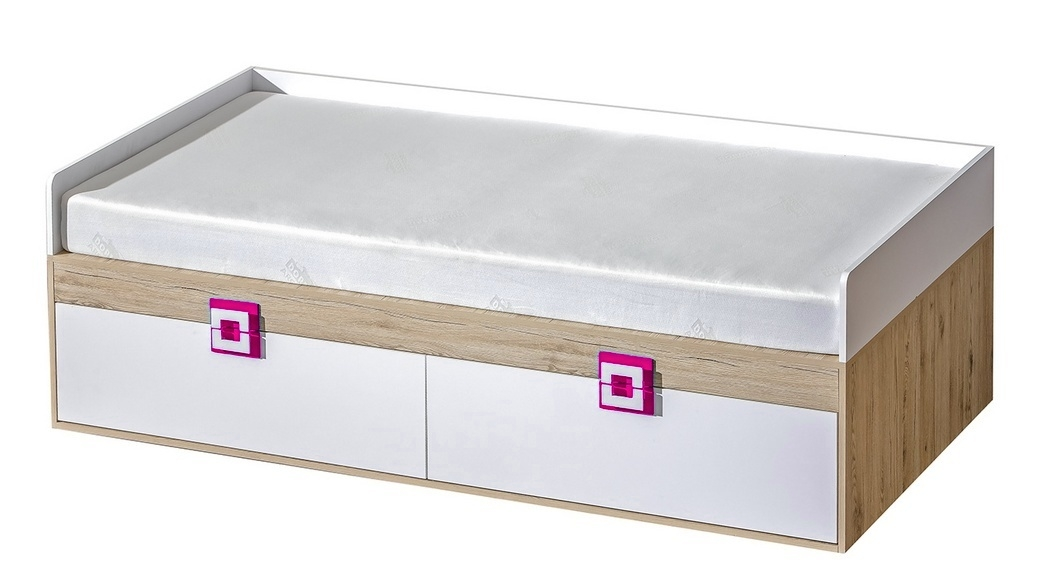 Postel 90x200 NIKO 14 dub jasný/biela/ružová
