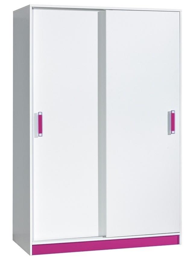 šatníková skriňa s posuv. dveřmi TRAFICO 14 biela/ružová