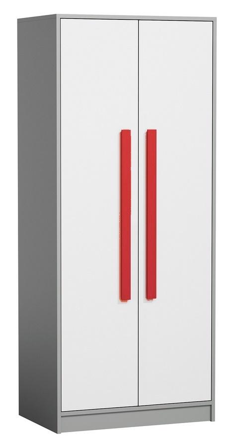 šatníková skriňa GYT 1 antracit/biela/červená