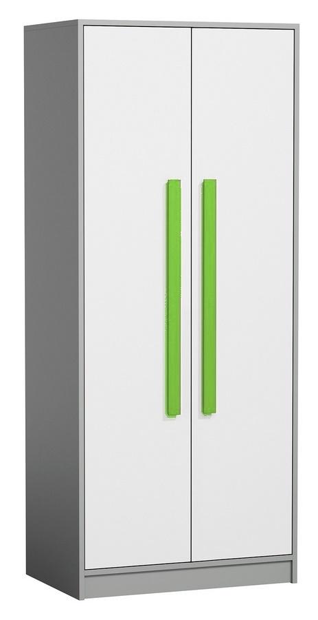 šatníková skriňa GYT 1 antracit/biela/zelená