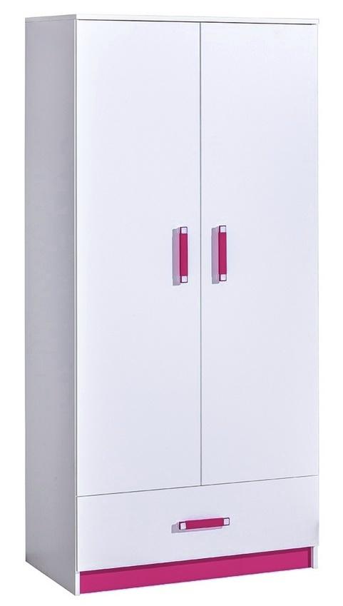 šatníková skriňa TRAFICO 1 biela/ružová