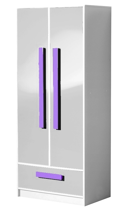 šatníková skriňa GULLIWER 1 biela lesk/fialová