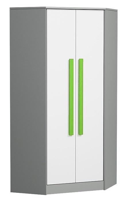Rohová šatníková skriňa GYT 2 antracit/biela/zelená