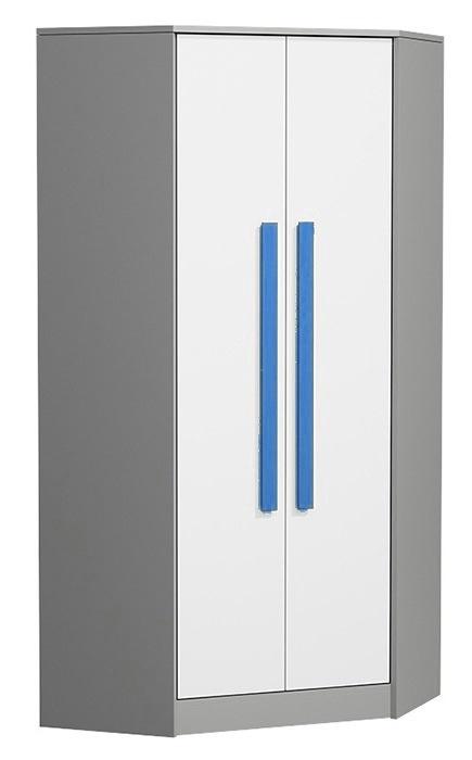 Rohová šatníková skriňa GYT 2 antracit/biela/modrá