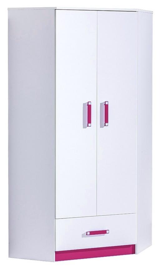 Rohová šatníková skriňa TRAFICO 2 biela/ružová