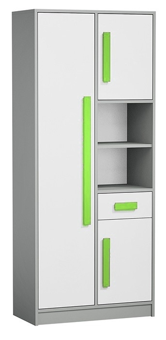 Skriňa s regálom GYT 3 antracit/biela/zelená