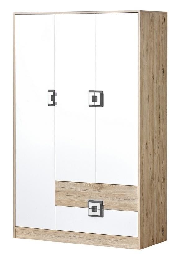 šatníková skriňa 3-dveřová NIKO 3 dub jasný/biela/popel