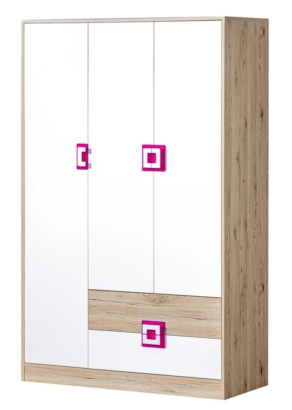 šatníková skriňa 3-dveřová NIKO 3 dub jasný/biela/ružová