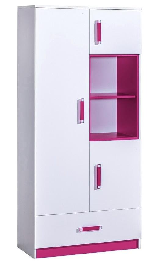 Kombinovaná skriňa TRAFICO 3 biela/ružová