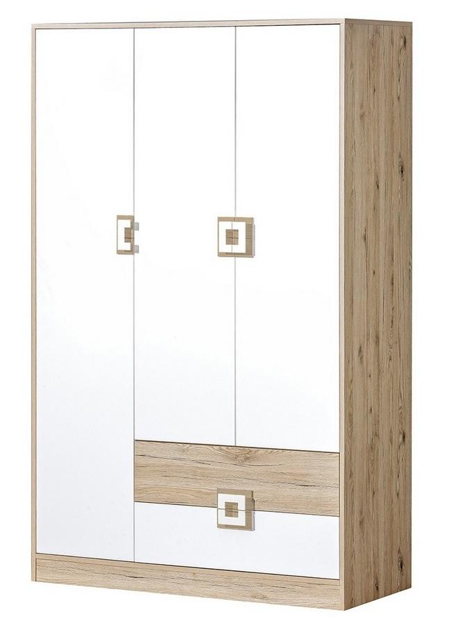 šatníková skriňa 3-dveřová NIKO 3 dub jasný/biela