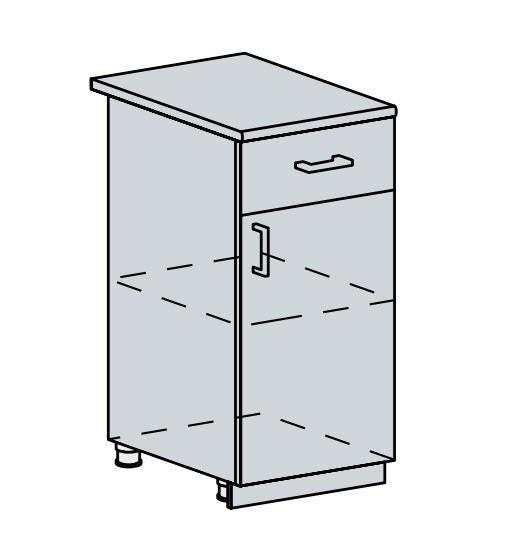 40D1S d. skříňka 1-dveřová se zásuvkou VALERIA wk/bílá lesk