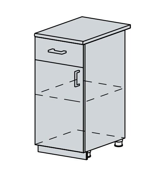 40D1S d. skříňka 1-dveřová se zásuvkou VERONA zlatý jasan