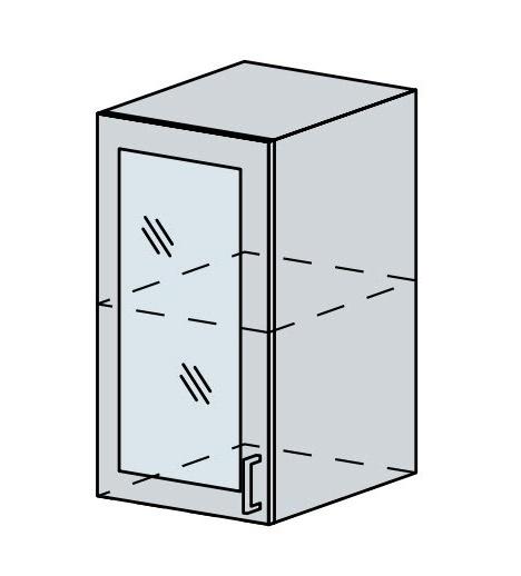 40HS h. vitrína 1-dveřová VERONA jasan šimo