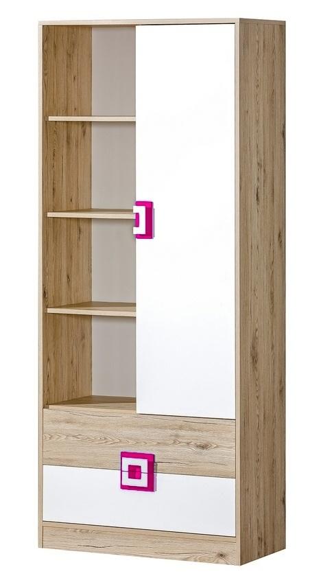 Kombinovaná skriňa NIKO 4 dub jasný/biela/ružová