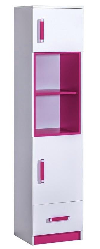 Kombinovaná skriňa úzká TRAFICO 4 biela/ružová