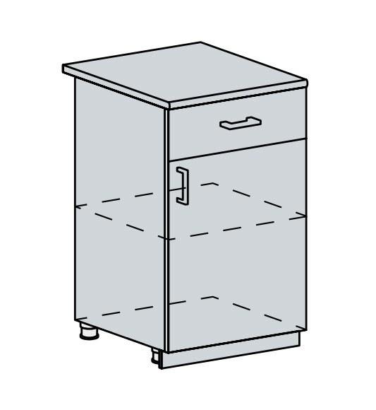50D1S d. skříňka 1-dveřová se zásuvkou VALERIA wk/bílá lesk