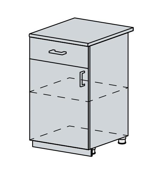 50D1S d. skříňka 1-dveřová se zásuvkou VERONA zlatý jasan