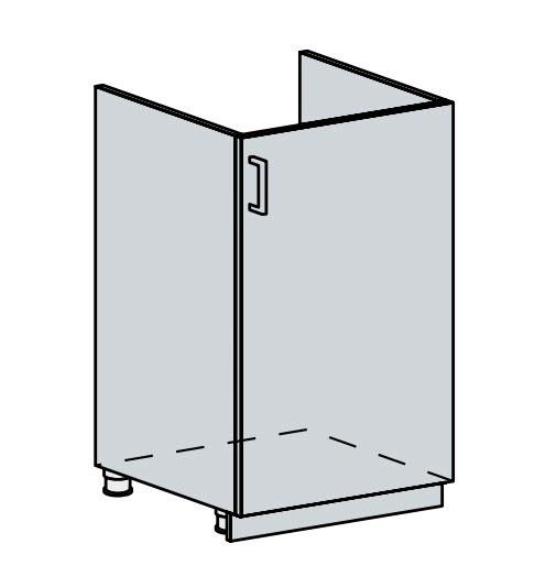 50DZ d. skříňka 1-dveřová pod dřez VICTORIE bílý santál