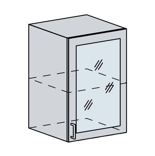 50HS h. vitrína 1-dveřová VALERIA wk/bílá lesk