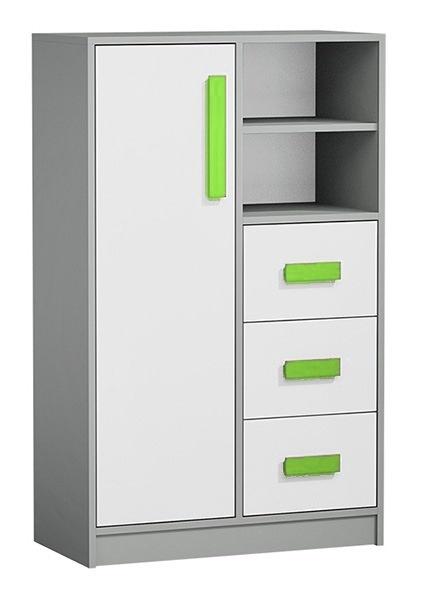Komoda GYT 5 antracit/biela/zelená