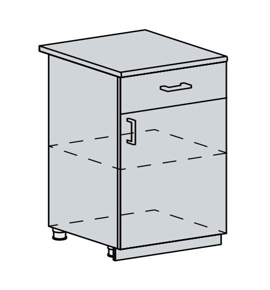 60D1D1S d. skříňka 1-dveřová se zásuvkou VICTORIE bílý santál