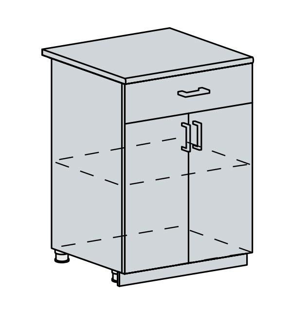 60D1S d. skříňka 2-dveřová se zásuvkou VICTORIE bílý santál