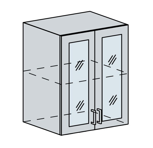 60HS h. vitrína 2-dveřová VALERIA wk/bílá lesk