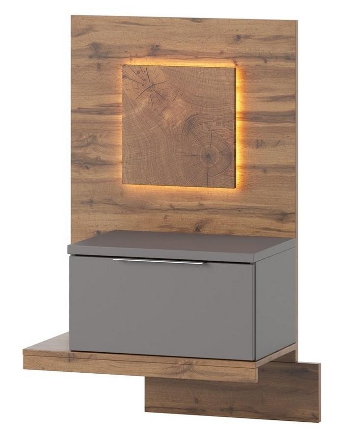 Noční stolek LIVORNO 68 levý dub wotan/šedá
